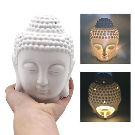 Buddha Head Ceramics Oil Burner Candle Aromatherapy Essential Wax Home Fragrance Warmer Home