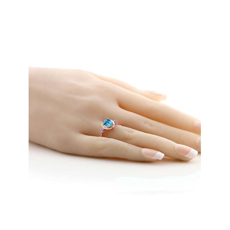 1.47 Ct Oval Checkerboard Swiss Blue Topaz Blue Tanzanite 18K Rose Gold Plated Silver Ring - image 2 de 3