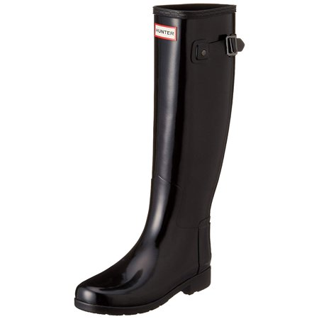 2d00d88b684 Hunter Women's Original Refined Gloss Tall Rain Boots, Black, 9 B(M) US