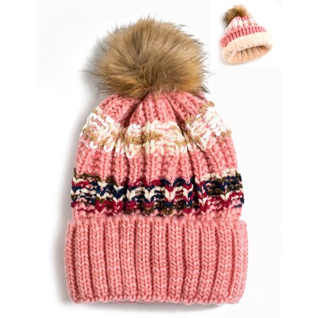 4cdaa1049 Newbee Fashion - Women Winter soft Knitted Beanie Hat Faux Fur Pom Pom  Beanie Hat with Warm Fleece Lined Extra Thick Skull Slouchy Cable Knit Hat  Ski ...