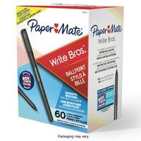 Paper Mate Ballpoint Pens, Write Bros. Black Ink Pen, Medium Point, 1.0 mm, 60 Count