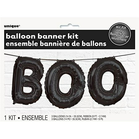 Foil Black BOO Halloween Letter Balloon Banner Kit, 1 foil Black Boo Halloween letter balloon banner kit By Unique Industries