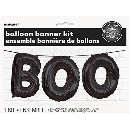 Foil Black BOO Halloween Letter Balloon Banner Kit, 1 foil Black Boo Halloween letter balloon banner kit By Unique Industries - 123 Halloween Certificates