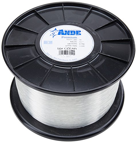 Ande Monofilament Line (Clear, 15 -Pounds test, 1/4# spool) Multi-Colored