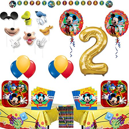 Mickey Mouse 2nd Birthday Party Supplies Tableware and Balloon Party Decoration Set - Mickey Mouse 2nd Birthday