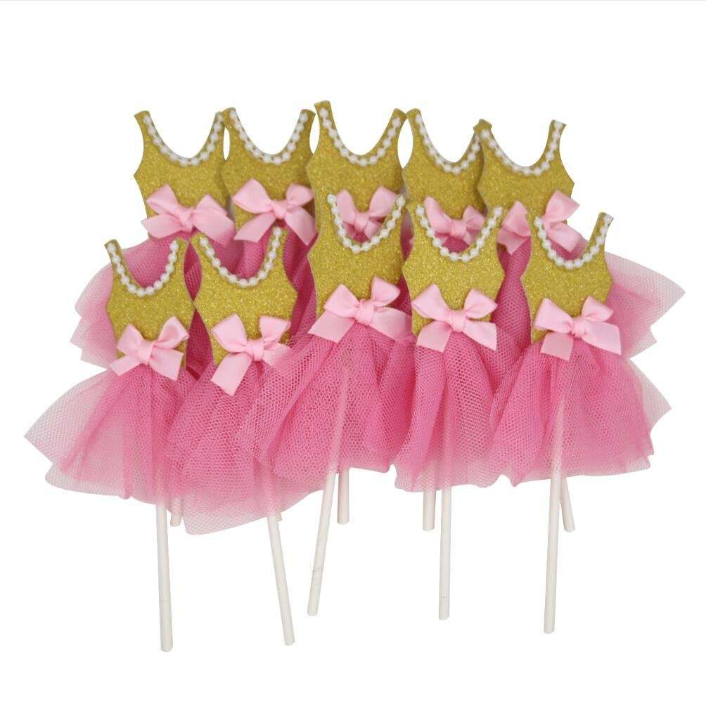 Estink Pink Gold Ballerina Tutus Cake Topper for Girls Princess Birthday Decorations Pack of 10