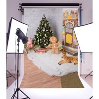 GreenDecor Polyester Fabric 5x7ft Christmas Photography Backdrop Tree Interior Decorations White Brick Wall Reindeer Dolls White Blanket Scene Photo Background Children Baby Adults Portraits Backdrop