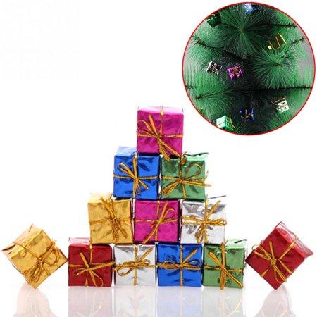 36pcs/pack 2.5cm Mix Color Mini Gift Box Chrismas Tree Hanging Ornament Xmas Tree New Year Decorations (Mini Gift Boxes)