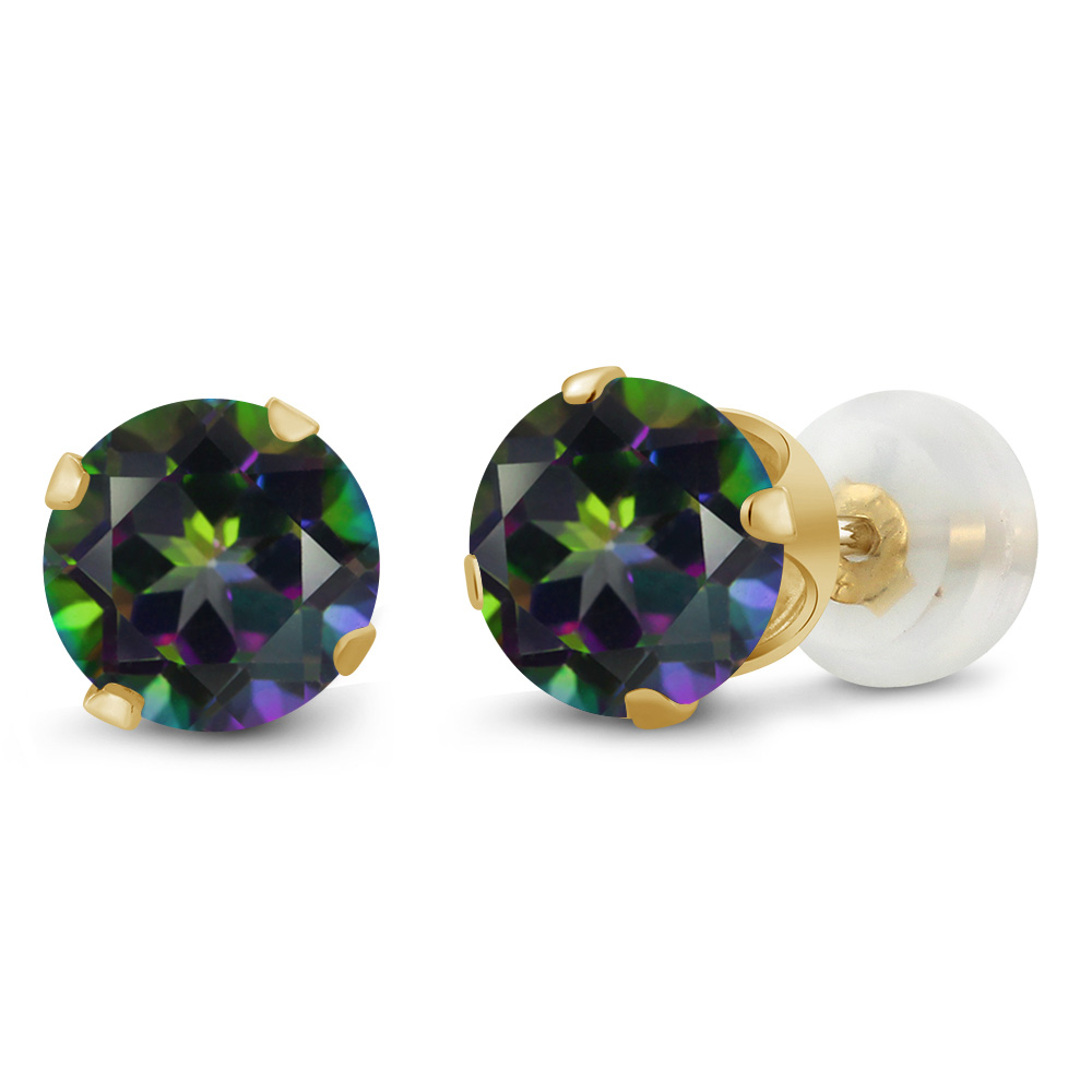 2.00 Ct Round 6mm Green Mystic Topaz 10K Yellow Gold Stud Earrings