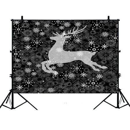PHFZK 7x5ft Happy Festival Backdrops, Merry Christmas Reindeer Deer Snowflake Abstract Art Photography Backdrops Polyester Photo Background Studio Props](Reindeer Props)