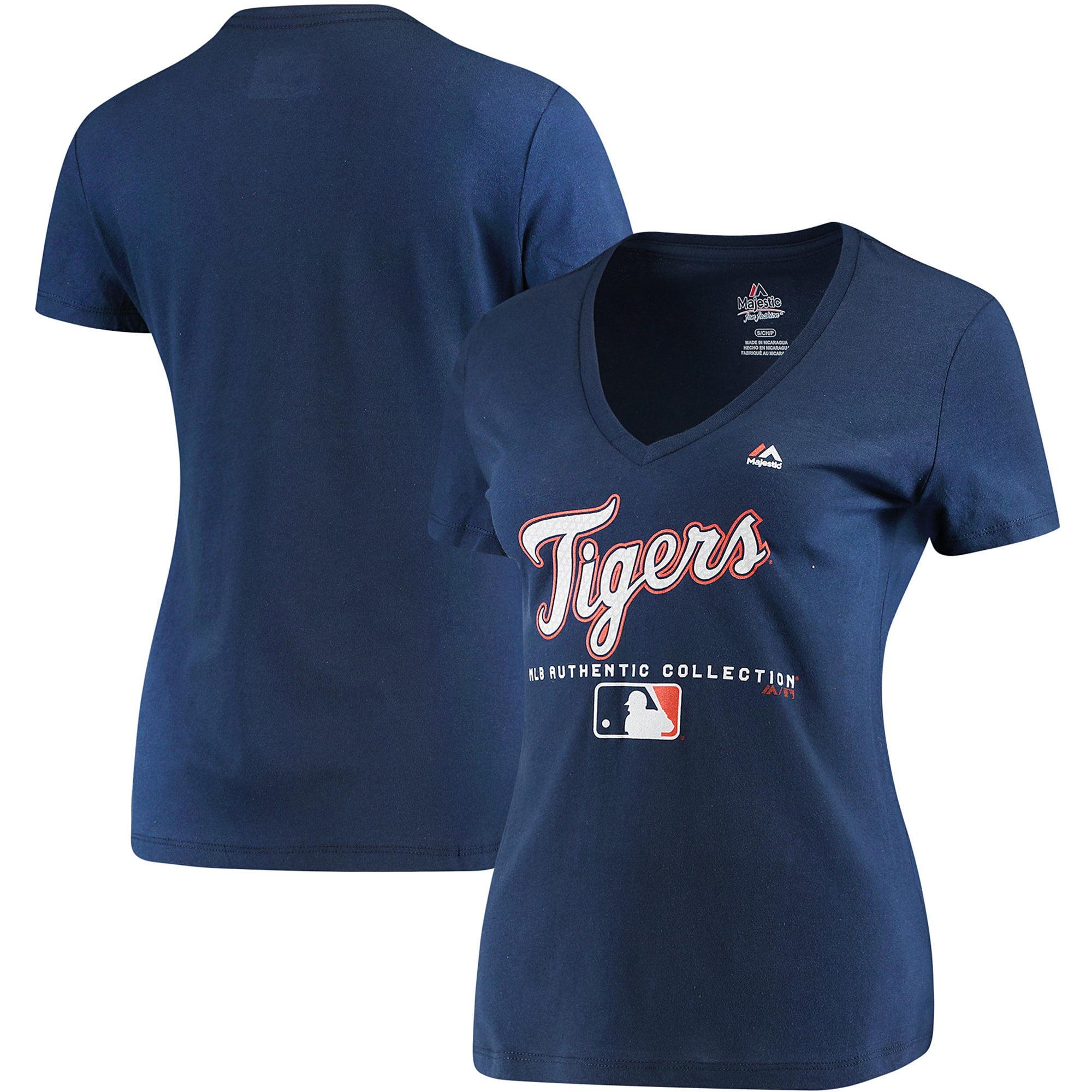 Detroit Tigers Majestic Women's Authentic Team Drive T-Shirt - Navy