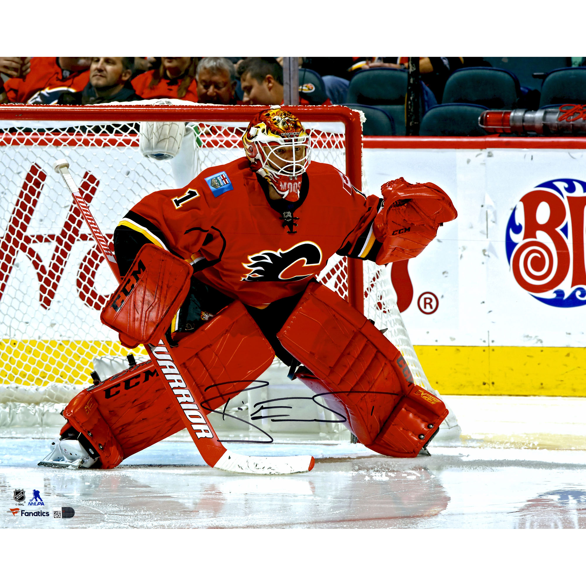 """Brian Elliott Calgary Flames Fanatics Authentic Autographed 16"""" x 20"""" Red Jersey In Net Photograph - No Size"""