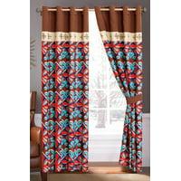 4-Pc Fleur-de-lis Floral Damask Royal Embroidery Curtain Set Beige Brown Orange Blue Sheer Liner Drape