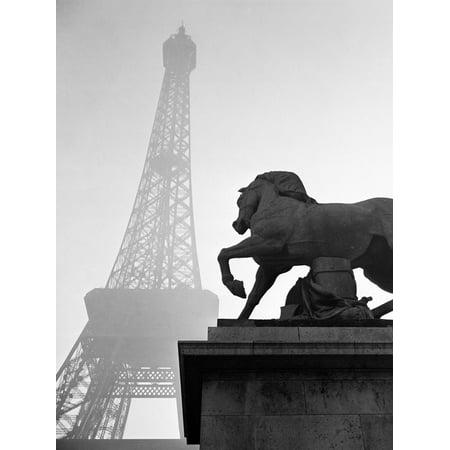 1920s Horse Statue at Base of Eiffel Tower Paris, France Print Wall Art