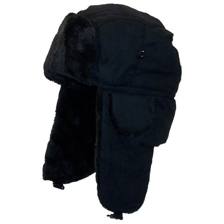 Best Winter Hats Adult Russian/Aviator Faux Suede Leather w/Faux Fur (One Size) - Black