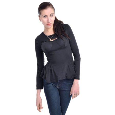 Anna-Kaci S/M Fit Black Molded Cups Cut Out Bodice Peplum Hem Fitted Blouse - Moll Suit