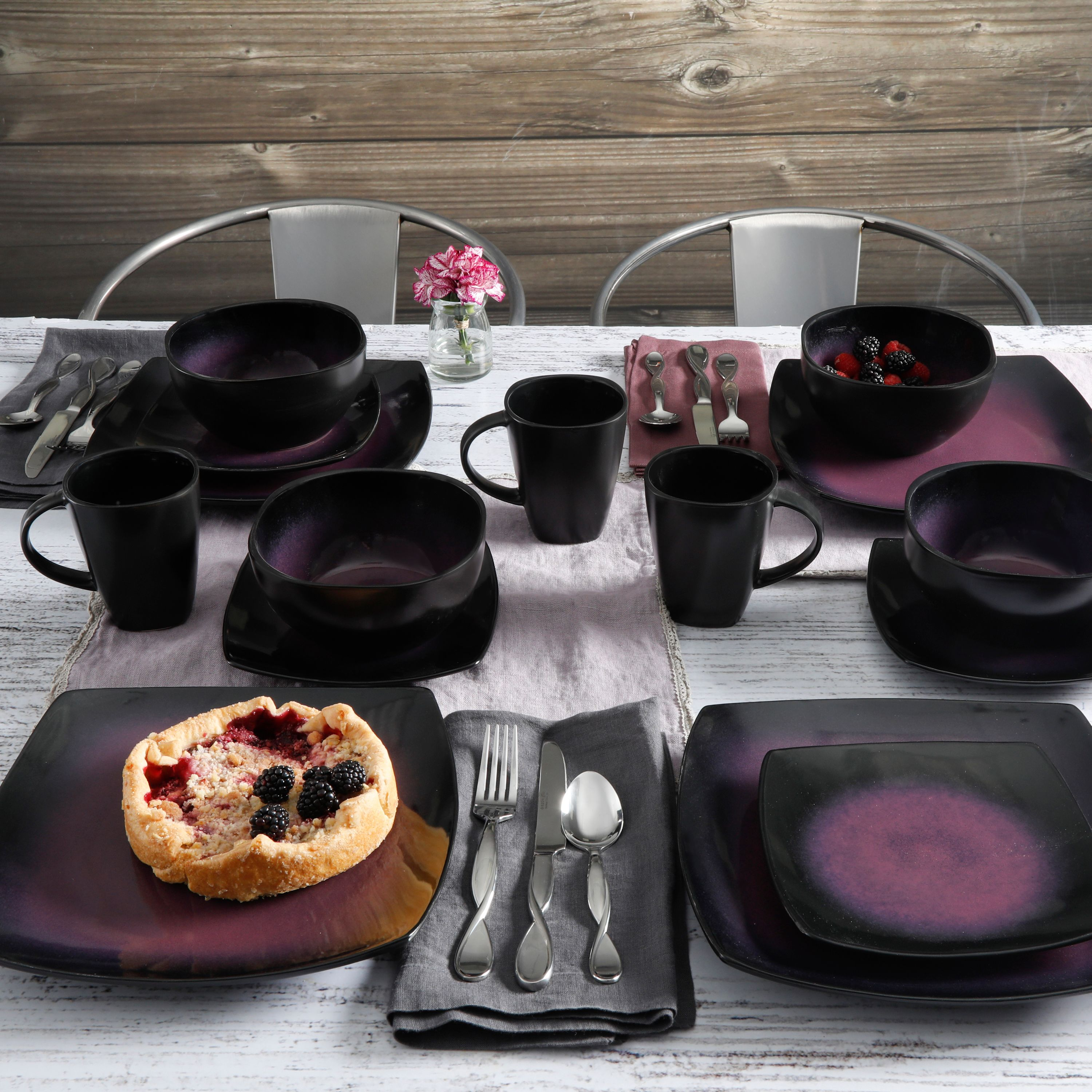 Dinnerware Set Square Round 16 Pc Dinner Plates Cups Bowl Dishes ...