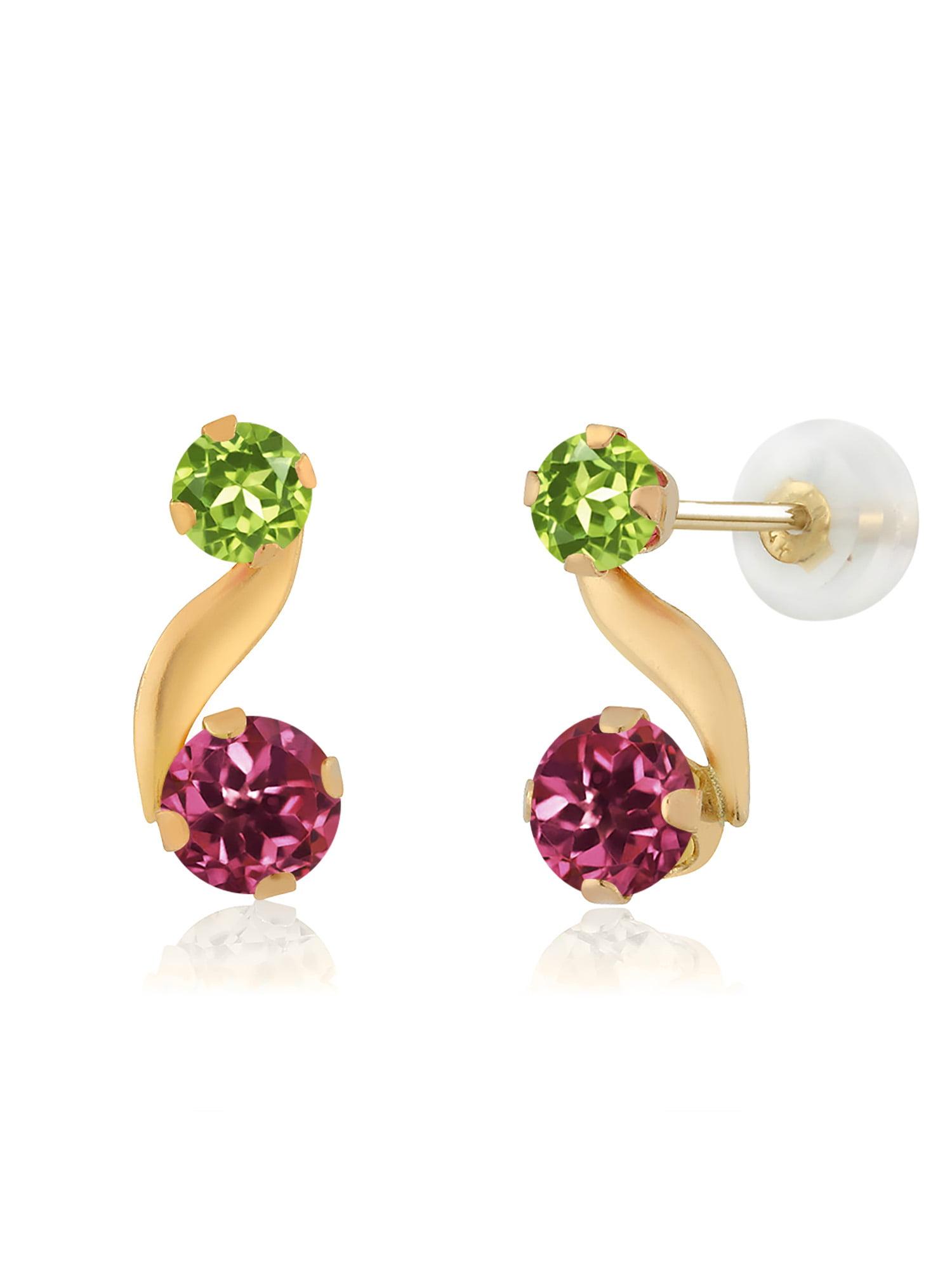 0.72 Ct Round Pink Tourmaline Green Peridot 14K Yellow Gold Earrings by