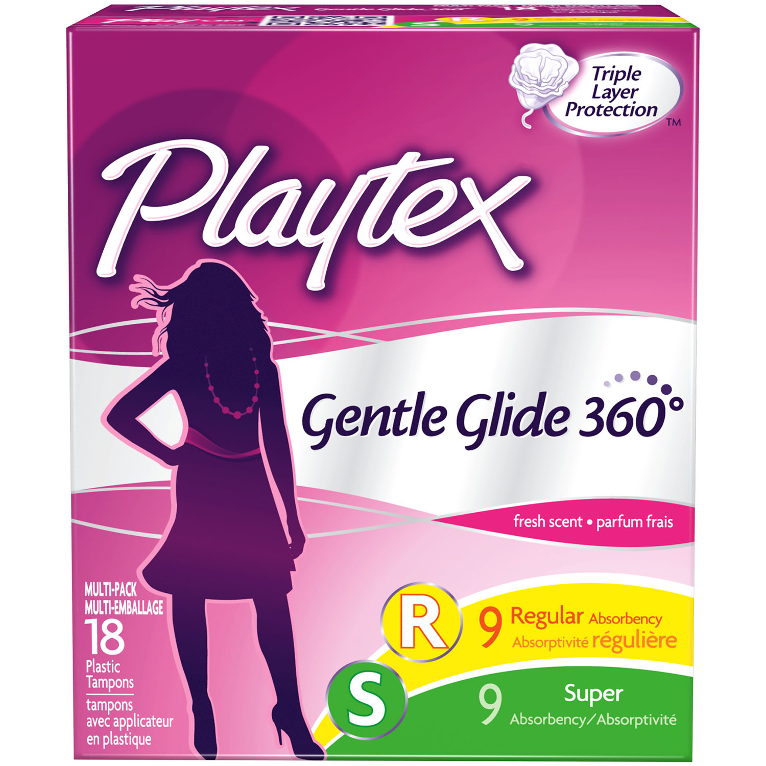 Playtex Gentle Glide Tampons Scented Multi-Pack 9 Regular Absorbency And 9 Super Absorbency - 18 Count