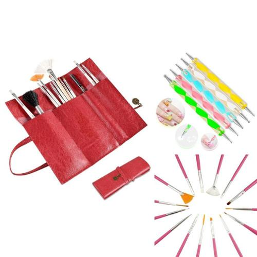 Zodaca 20 Pcs Nail Art Design Painting Dotting Pen Pink Brushes Set+Red Roll up Bag (3-in-1 Accessory Bundle)