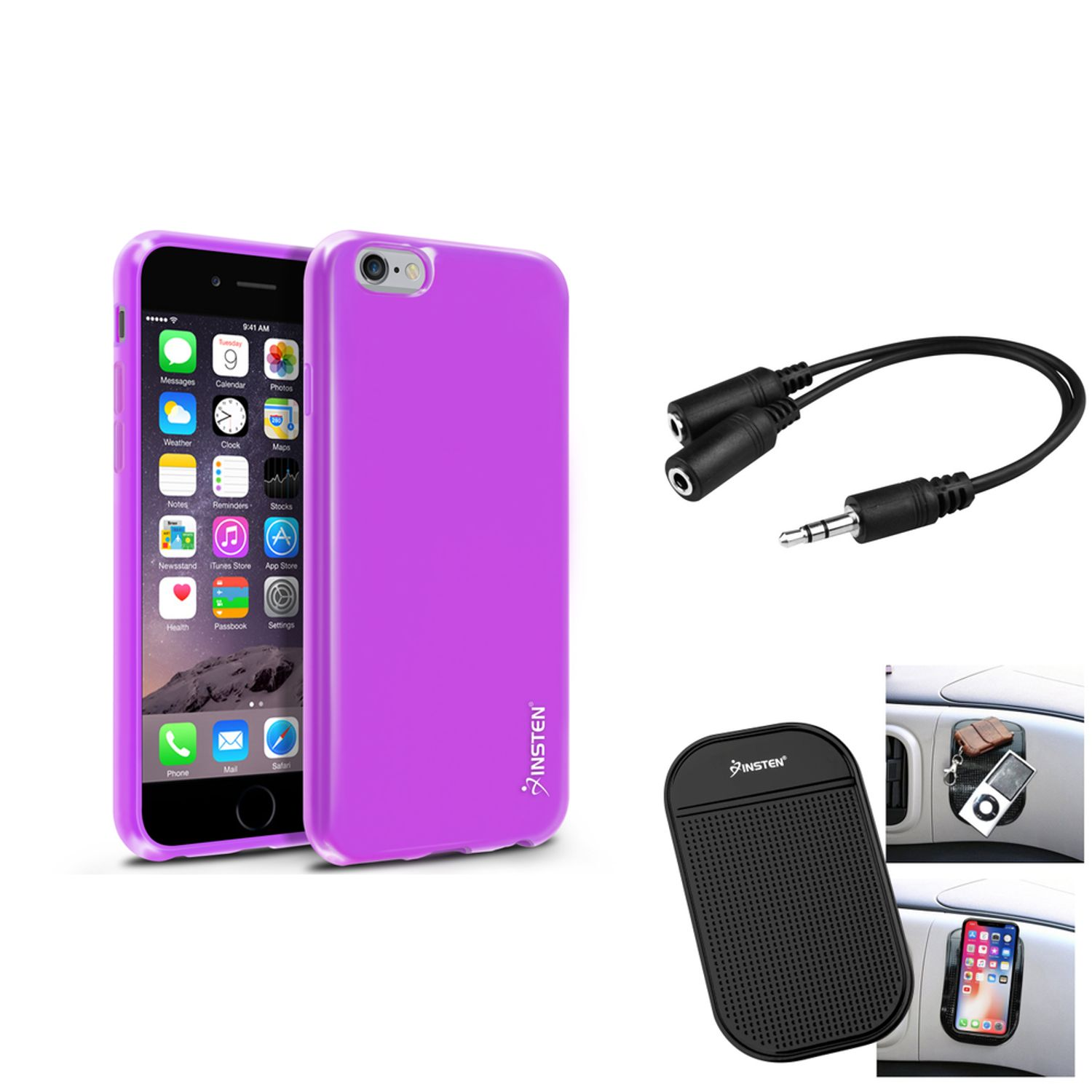 Insten Purple Jelly TPU Skin Soft Cover Case+Mat+Screen Protector+Splitter For Apple iPhone 6S 6 4.7""