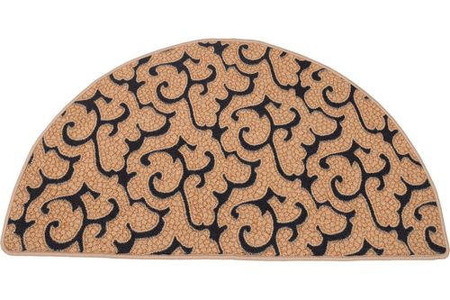 HR201 Beige Black Half Round Hearth Rug 43 inch by