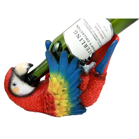 Parrot Wine - Collectibles Rio Rainforest Scarlet Macaw Parrot Wine Bottle Holder Caddy Figurine, This beautiful sculpture stands at 6.25