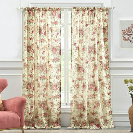 Global Trends Antique Rose Curtain Panel, Set of