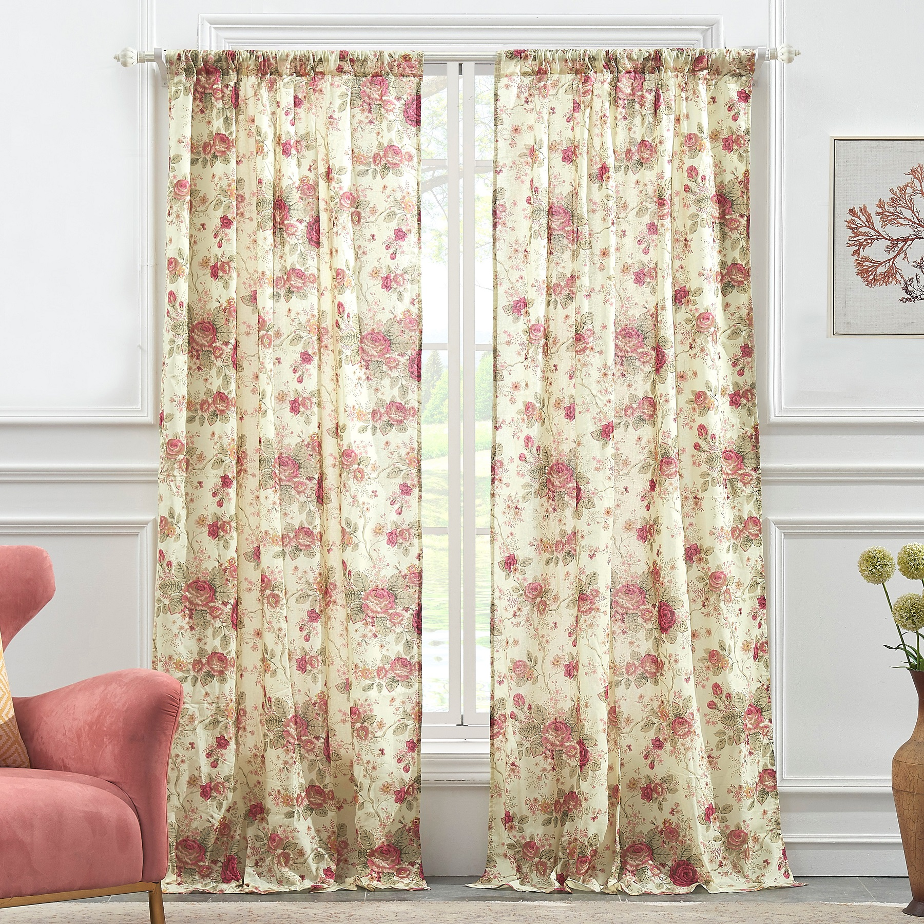 Global Trends Antique Rose Curtain Panel, Set of 2