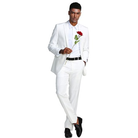 NEW FDSSM287SA ULTRA SLIM FIT TWO PIECE MEN'S SOLID TWO PIECE SUIT FORMAL PROM DANCE WEDDING OFFICE FATHER OF THE GROOM](Two Face Suit)