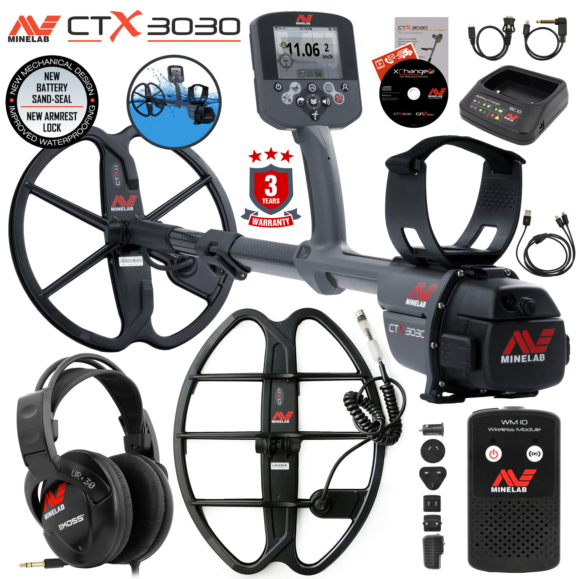 """Minelab CTX 3030 Waterproof Metal Detector Special with 17"""" Smart Coil by"""