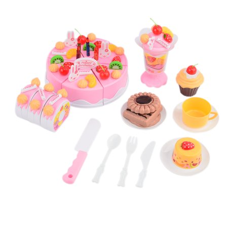 Plastic Food For Kids - Set of 75Pcs Plastic Kitchen Cutting Toy Birthday Cake Pretend Play Food Toy Set for Kids Girls - Pink