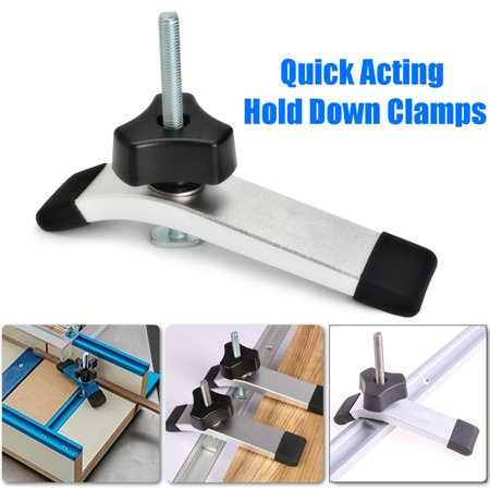Chrome Distributor Hold Down Clamp - Quick Acting Hold Down Metal Clamps Set for T-Slot T-Track Woodworking Tools