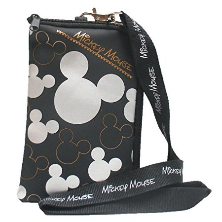 Disney Mickey Mouse Black Silver Lanyard with Cell Phone Case or Coin Purse (1 - Minnie Mouse Lanyard