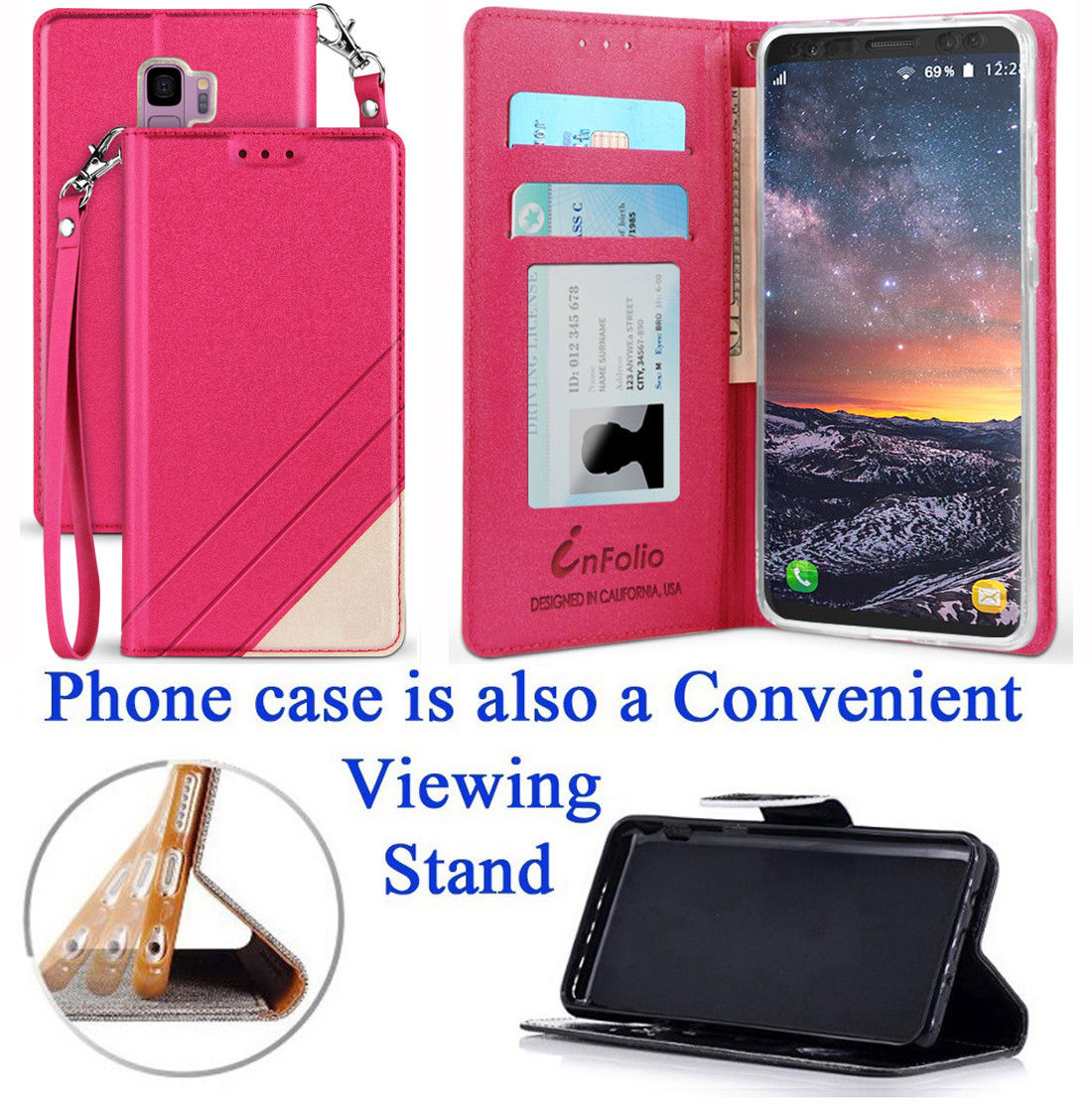"""for 5.8"""" Samsung S9 Galaxy S 9 Case Phone Case Wallet Fold Kick Stand Hybrid Pouch Card Pocket Purse Mosaic Grip Texture Screen Flip Cover Glitter Rose"""