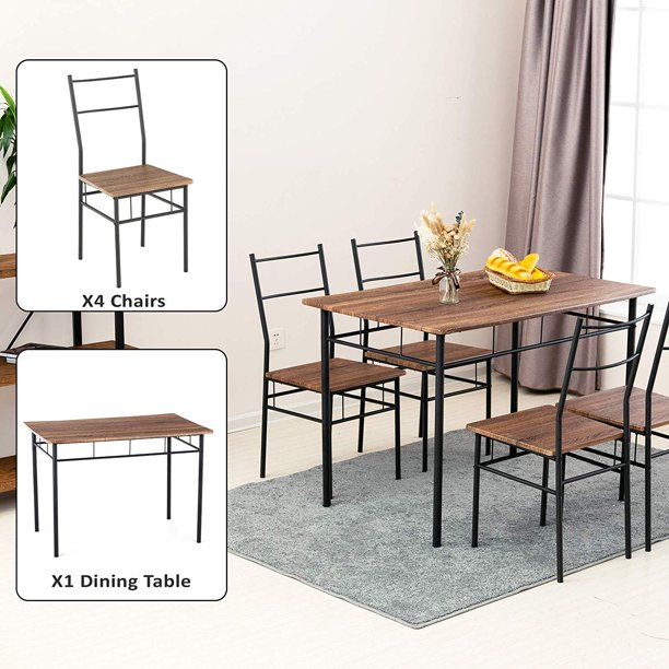 mecor 5 Piece Dining Table Set, Vintage Wood Tabletop Kitchen Table w/ 4 Chairs with Metal Frame (Brown)