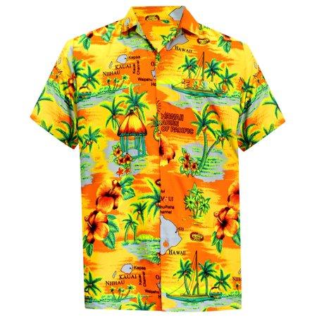 3cd6a1279 HAPPY BAY - La Leela Hawaiian Shirt For Men Short Sleeve Front-Pocket Beach  Printed Red - Walmart.com