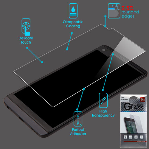 For LG V20 Clear Tempered Glass Touch Screen Protector Film Cover (2.5D)