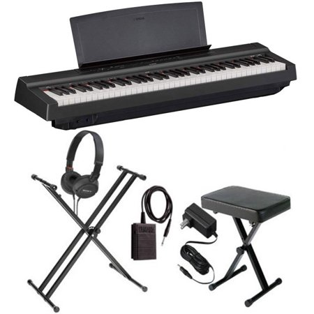 Yamaha P121B 73-Key Portable Digital Piano Black with Stand, Bench, and