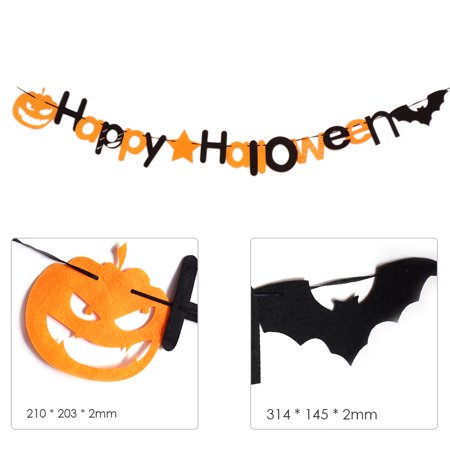 Happy Party Hanging Banner Wall Decor for Home School Office Party Decorations Bat and Pumpkin Garland - image 3 de 7