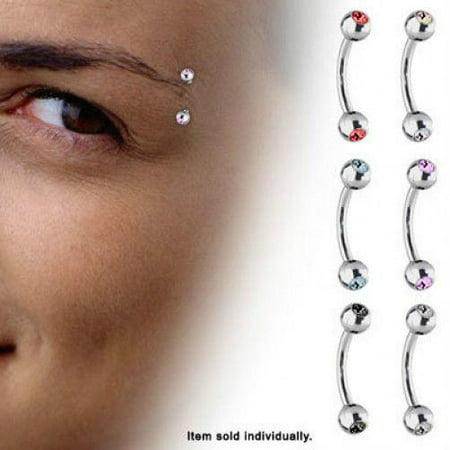 Jeweled High Polish Titanium Curved Eyebrow Ring (16 Gauge) ()