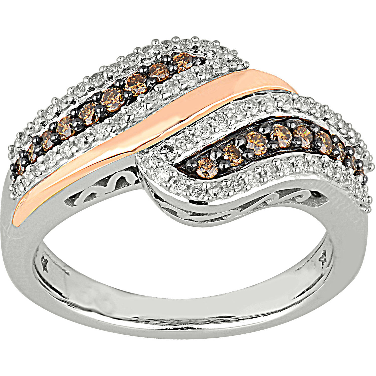 1/2 Carat T.W. Champagne and White Diamond 10kt Rose and White Gold By-Pass Ring