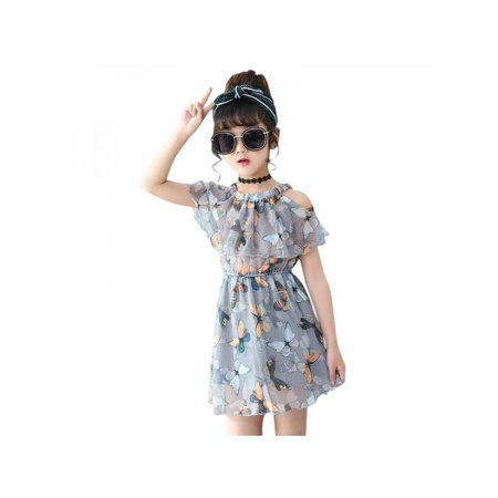 Lavaport Kid Girl Butterfly Printed Chiffon Dress