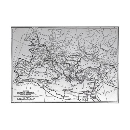 Map of the Roman Empire from 17Th Century Engraving Print Wall - Engraved Map
