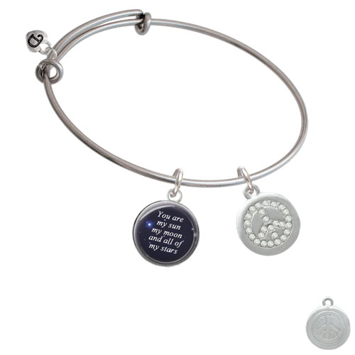 Disc with Crystal Peace Sign You Are My Sun Moon Stars Bangle Bracelet