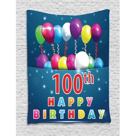 100th Birthday Decorations Tapestry, Colorful Balloons on Star Like Dots 100 Years Birthday, Wall Hanging for Bedroom Living Room Dorm Decor, 60W X 80L Inches, Blue and Dark Blue, by Ambesonne