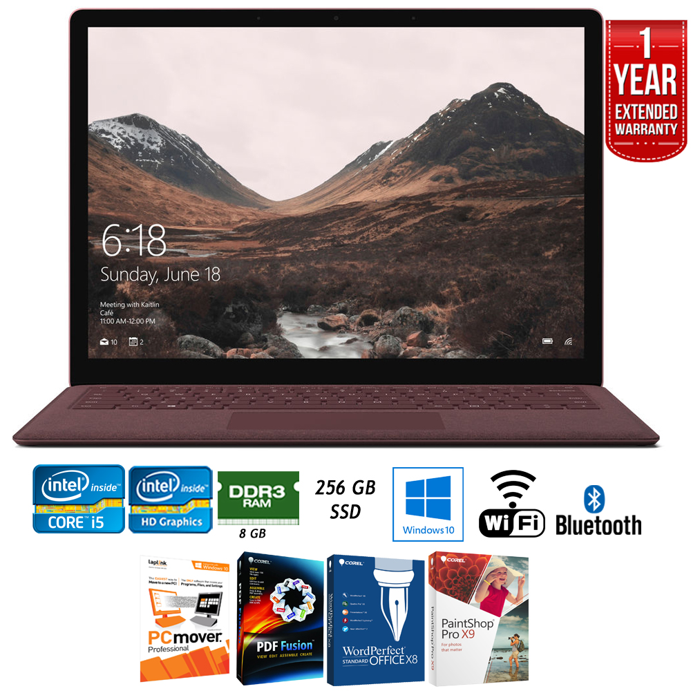 "Microsoft DAG-00005 13.5"" Intel i5-7200U 8GB/256GB Surface Laptop, Burgundy + Elite Suite 17 Standard Software Bundle (Corel WordPerfect, PC Mover,PDF Fusion,X9) + 1 Year Extended Warranty"