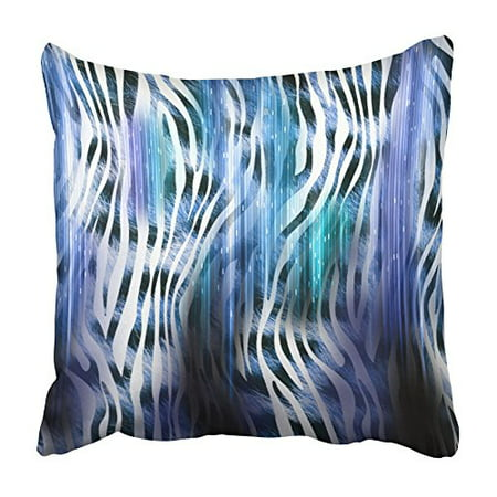 Colorful Blue Leopard - ARHOME Colorful Africa of Leopard with Zebra Style Pattern Design Animal Blue Asia Cat Pillowcase Cushion Cover 16x16 inch