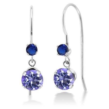 1.40 Ct Round Blue Mystic Topaz Blue Simulated Sapphire 14K White Gold Earrings Citrine & Sapphire Round Earrings