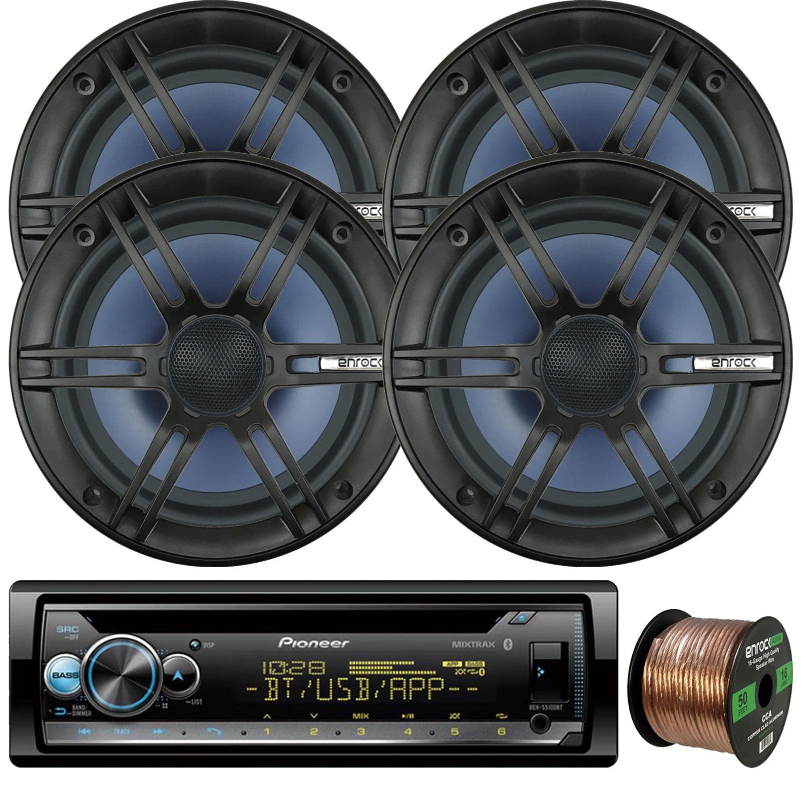 "Pioneer DEH-S5100BT In-Dash Single-DIN Built-In Bluetooth CD Receiver, 4 x Enrock Audio 6.5"" 2-Way Marine-Grade Coaxial Car/Boat Audio Stereo Speakers, 16-Gauge 50Ft. Speaker Wire"